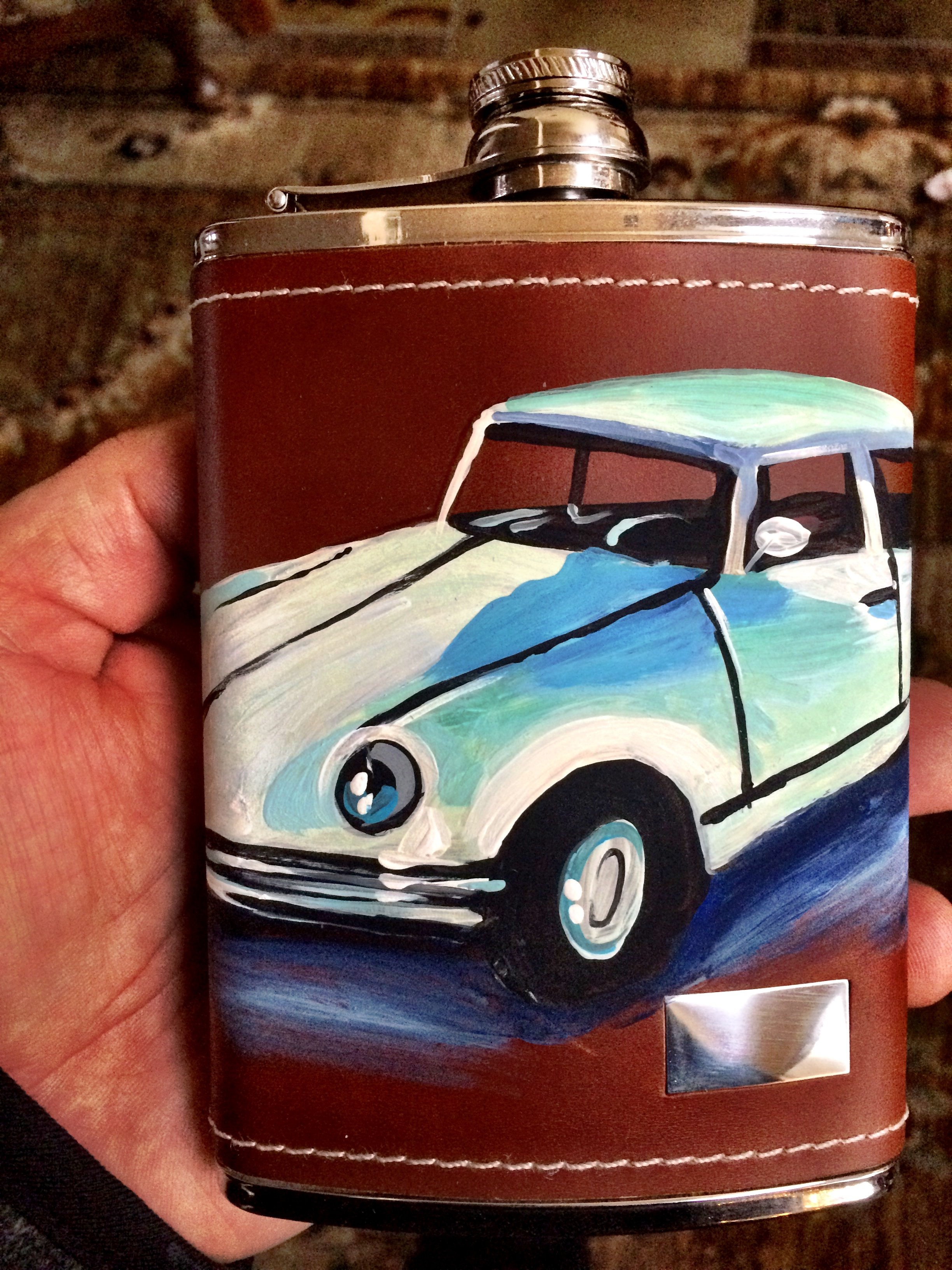 1971 Citroen DS painted on a high quality hip flask.